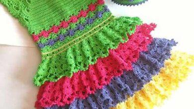 pirahan kamvaei bacheganeh 7 390x220 - مدلهای پیراهن کاموایی بچگانه شیک و رنگارنگ | لباس کاموایی دختربچه